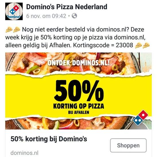 Dominos coupons korting