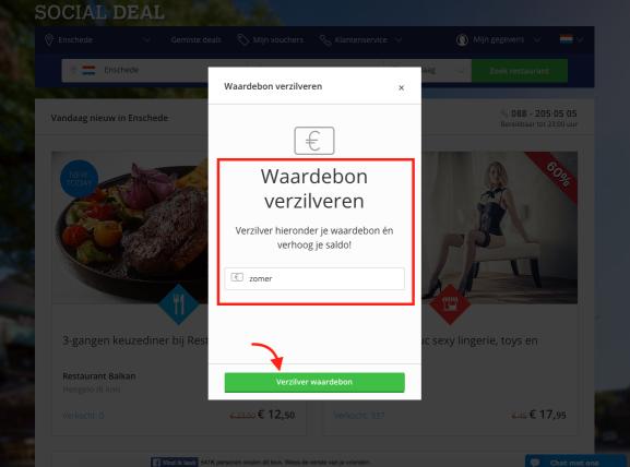 social deal kortingscode toepassen