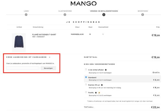mango cadeaubon kortingscode toepassen