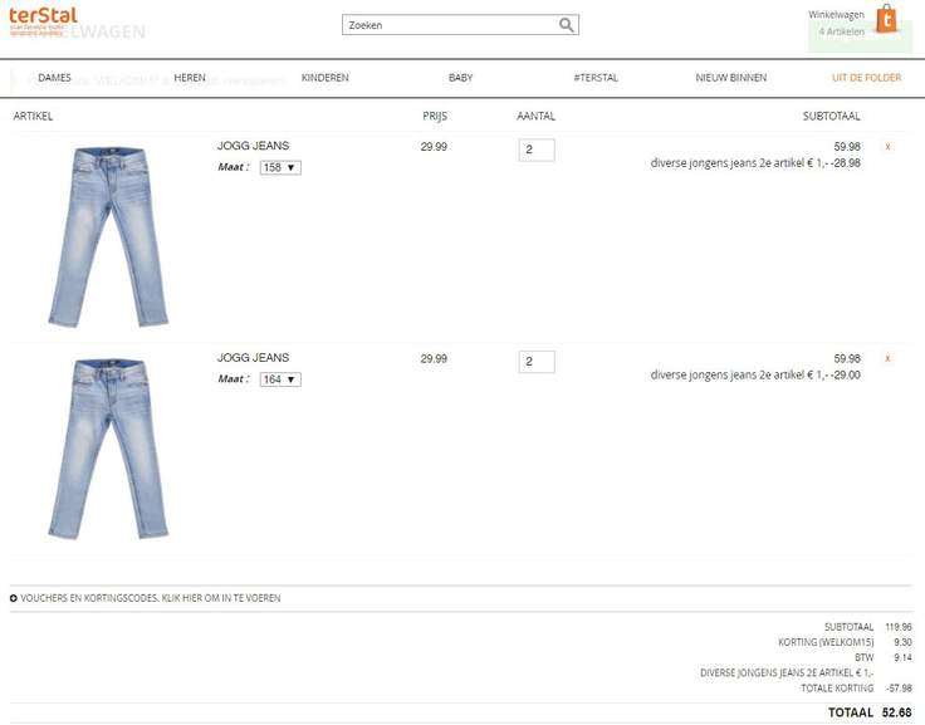 2e T shirt enof jog jeans €1 + 15% extra (va €50) @ terStal