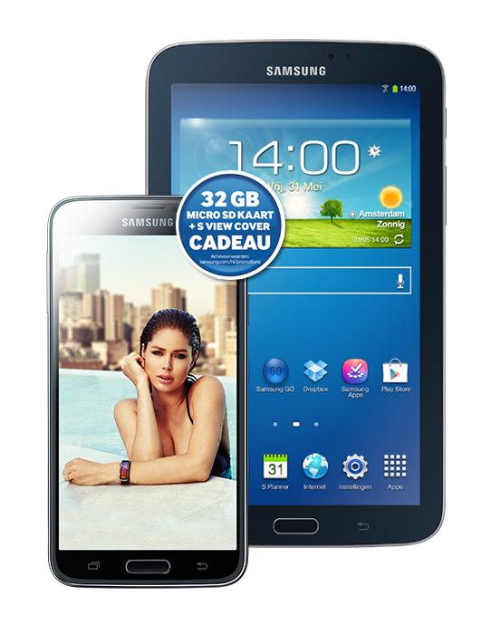 Samsung Galaxy S5 +  Tab3 7.0 + microSD + Cover  + Samsung speakerbox voor € 38 p/m @ Typhone