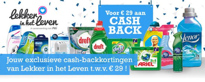 Cashback op verschillende topmerken @ Lekker in het Leven