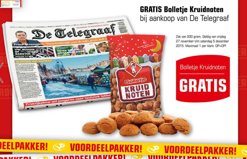 Gratis zak Bolletje pepernoten bij aankoop van De Telegraaf @ Primera