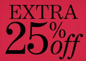 25% EXTRA korting op alle SALE @ Yoox