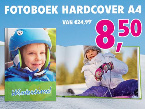 Fotoboek Hardcover A4 van €24,99 voor €8,50.