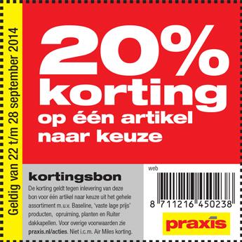 Kortingsbon voor 20% korting op artikel naar keuze @ Praxis