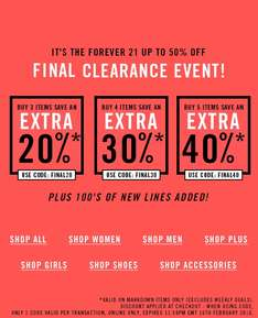20-30-40% EXTRA korting op alle SALE @ Forever21