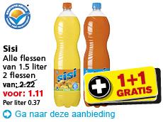 2 flessen Sisi voor €1,11 @ Hoogvliet