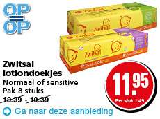 8 x 72 st Zwitsal lotion/sensitive billendoekjes voor €11,95 @ Hoogvliet