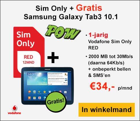 1 jaar Sim Only Vodafone-abonnement voor € 16 p/mnd met gratis Samsung Tab3 10.1 @ Typhone