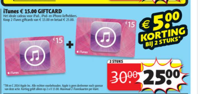 2 iTunes kaarten van €15 voor €25 @ Kruidvat
