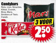 Drie 3-packs Rolo, Lion, Smarties, Kitkat, Crunch, Bros, Mars, Snickers of Twix voor €2,50 @ Dirk / Dekamarkt
