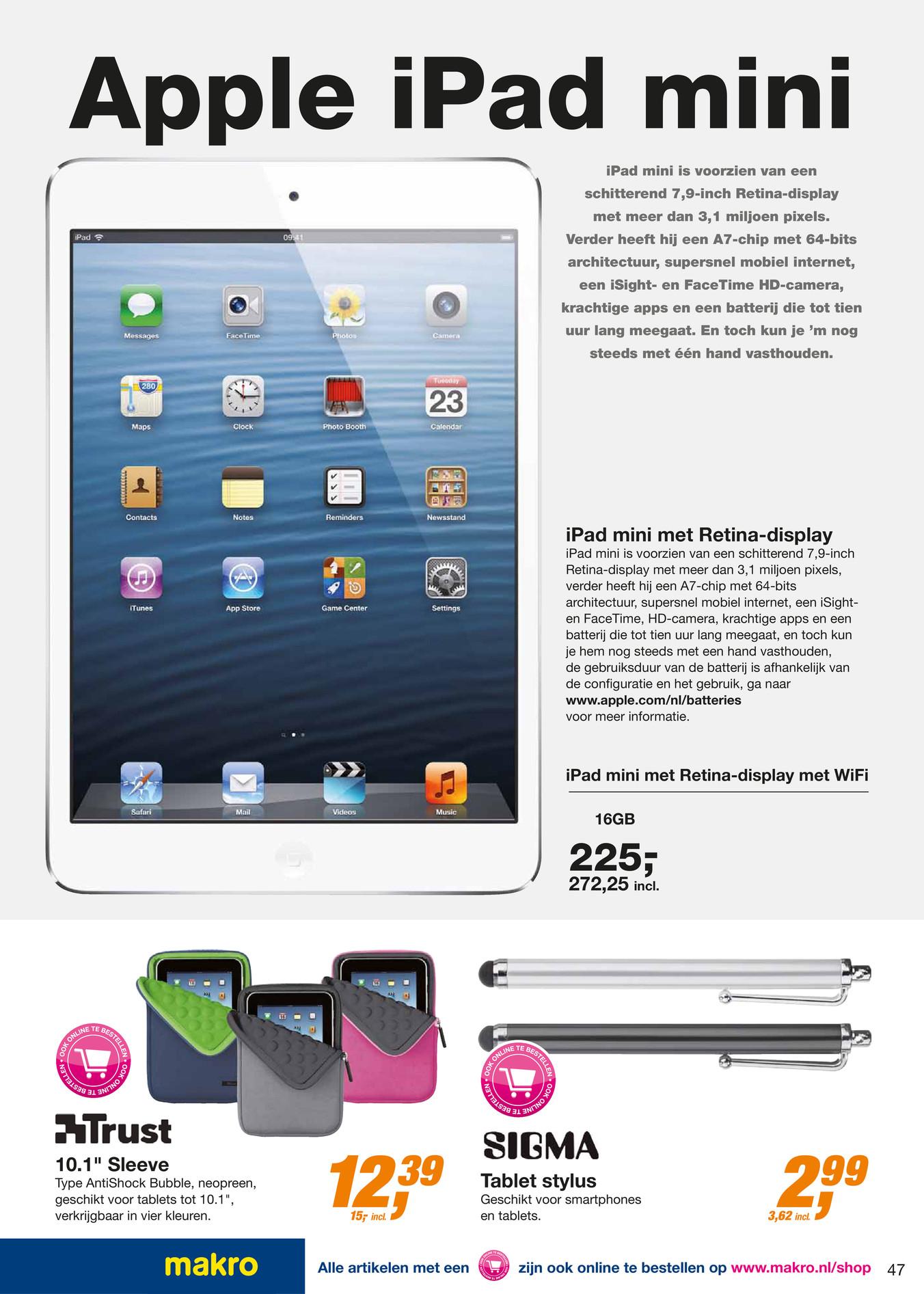 Apple iPad Mini Retina WiFi 16GB Zilver voor € 252,25 inclusief btw (prijsfout) @ Makro