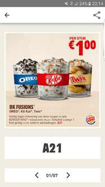 Burgerking - BK fusion Oreo, KitKat of Twix voor 1 euro