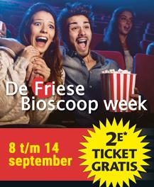 De Friese Bioscoop Week van 8 t/m 14 september (tweede ticket gratis)