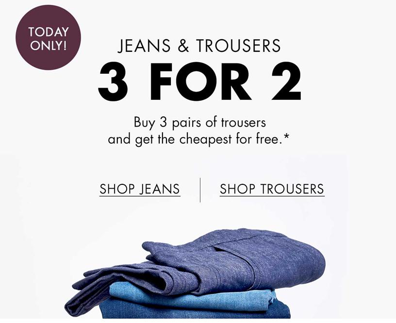 Broeken + jeans - 3 halen 2 betalen - dames & heren - @ Boozt