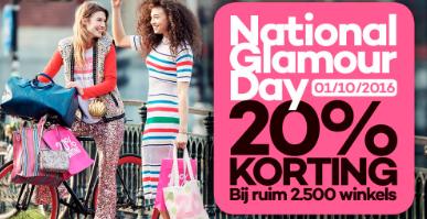 [UPDATE] Zaterdag: National GLAMOUR Day - 20% korting bij 58 (web)shops