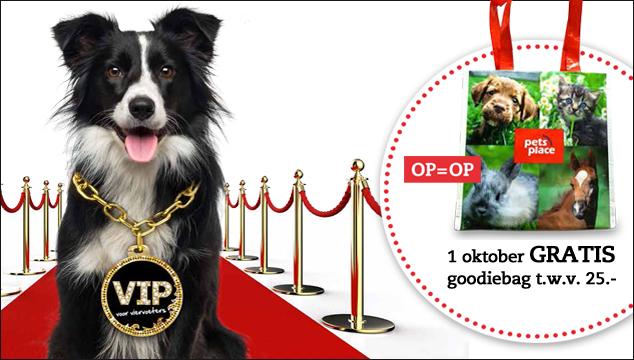 gratis goodiebag t.w.v. €25 voor viervoeters @ PetsPlace winkel - 1 oktober 2016