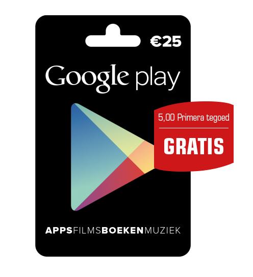 € 25,- Google Play Gift Card + Gratis € 5 Primera tegoed