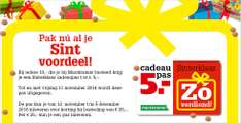 Bij iedere 10,- aankoop een Sinterklaas cadeaupas t.w.v. € 5,- @ Marskramer