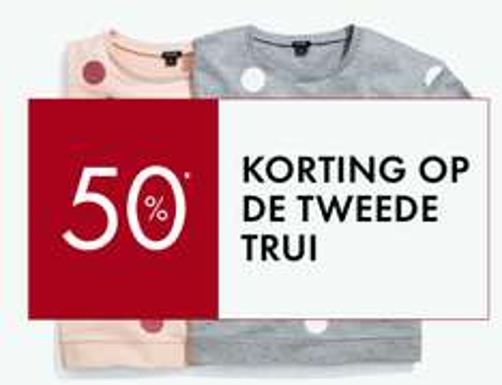 Tweede trui / sweater 50% korting @ Kiabi