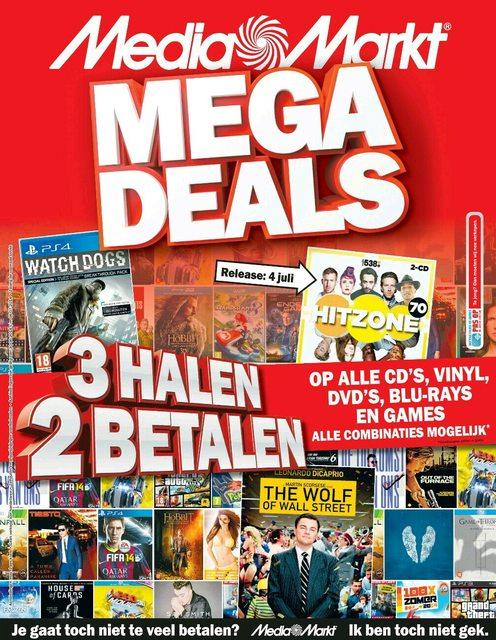 3 halen, 2 betalen op alle CD's, Vinyl, DVD's, Blu-rays en games @ Media Markt
