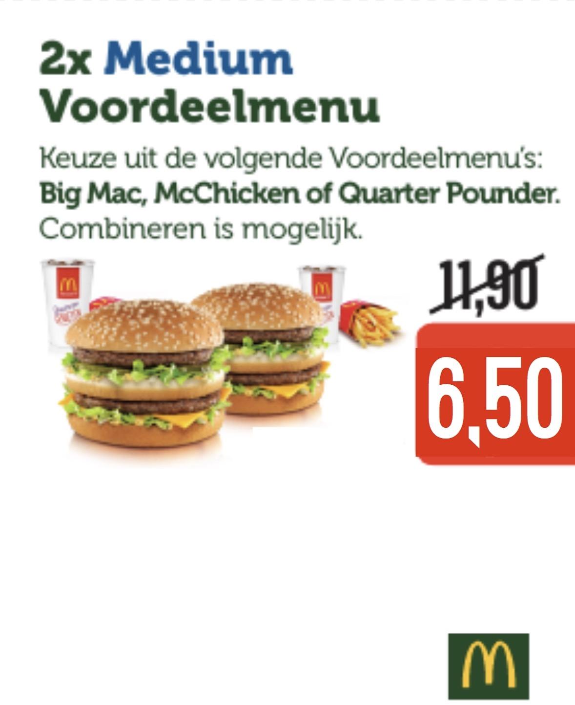 2x Voordeel menu voor €6,50 @ McDonalds (7-12)