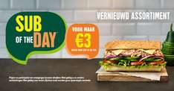 Nieuwe Subs van de dag @ Subway voor €3