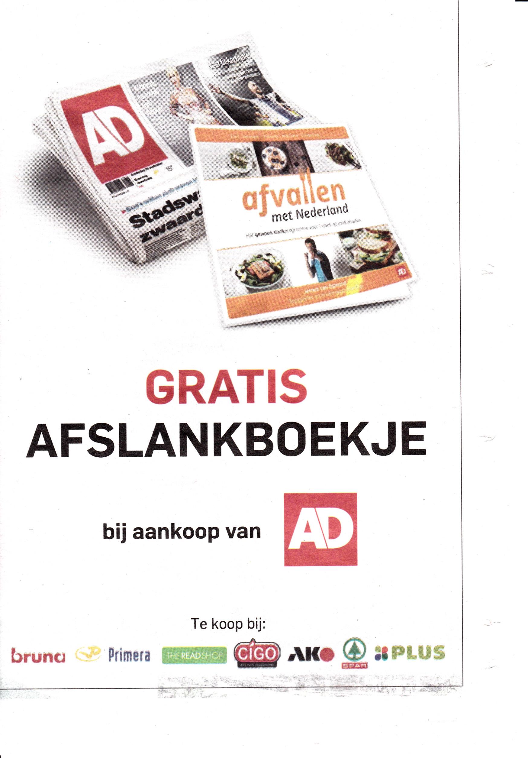 Gratis boekje Afvallen met Nederland bij aankoop AD