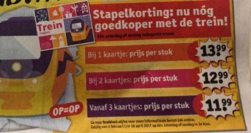 NS weekend treinkaartjes met stapelkorting: vanaf €11,99 @ Kruidvat (verkoop 30 januari)