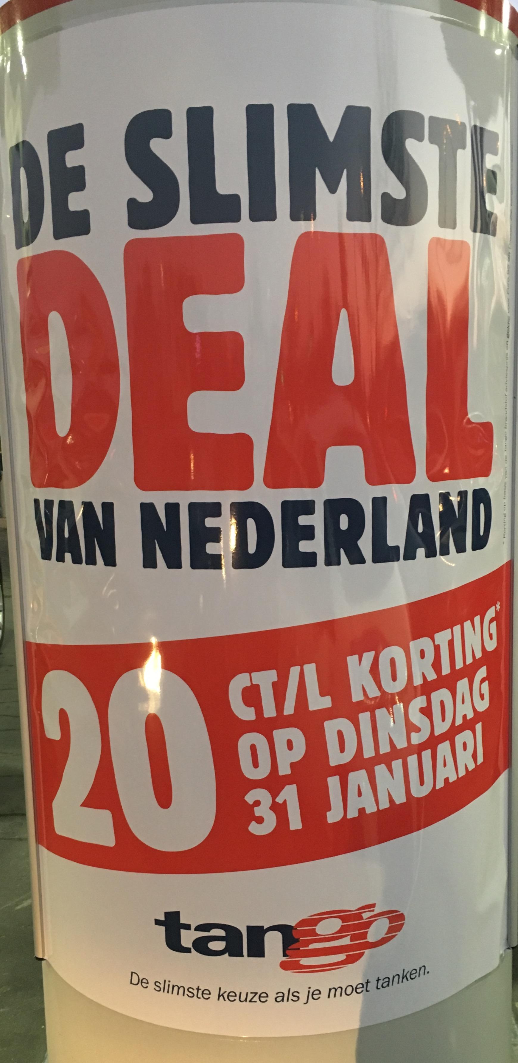 Di 31/01 20 ct/l korting op benzines en diesel bij Tango