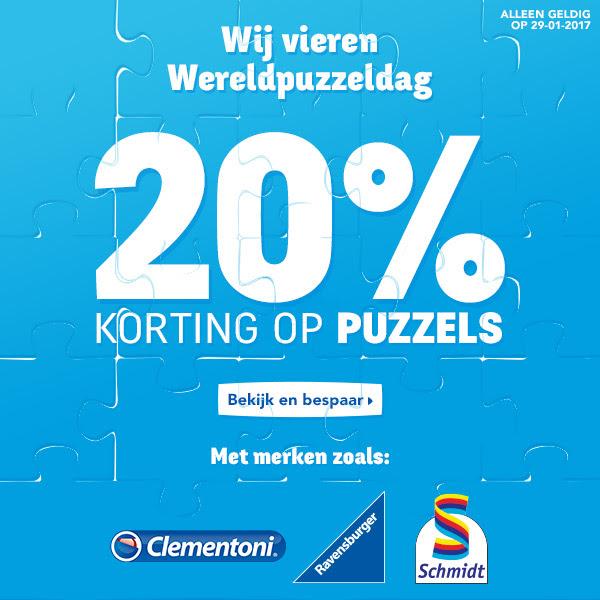 20% korting op alle puzzels en puzzel-accessoires tijdens Wereldpuzzeldag @ Toysrus