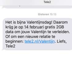 Gratis 2GB data op 14 Februari @ Tele2