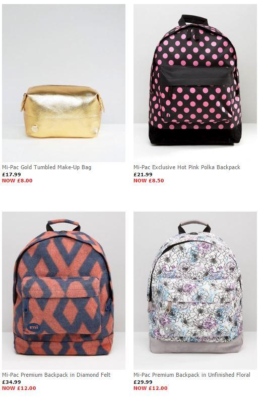 Diverse Mi-Pac (rug)tassen hoge korting (va €10) @ ASOS
