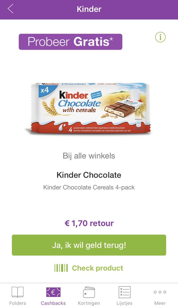 Gratis Kinder Chocolate Cereals 4pack via reclamefolder app