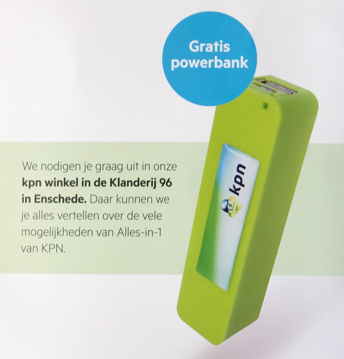 """Gratis Powerbank bij """"persoonlijk"""" advies @ KPN Enschede"""