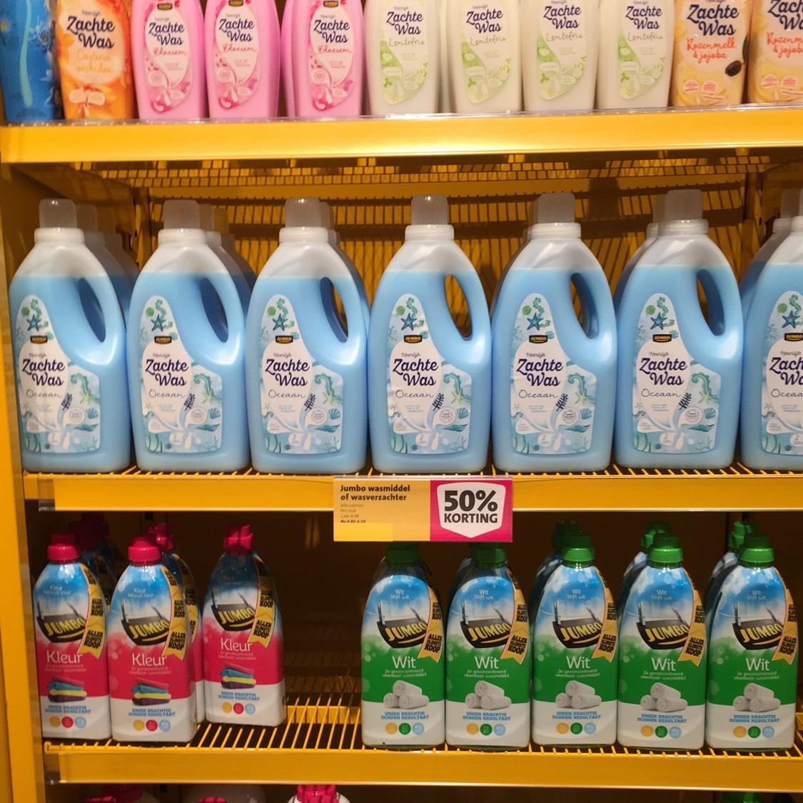 50% korting jumbo huismerk wasmiddel/wasverzachter  (Lokaal?!)