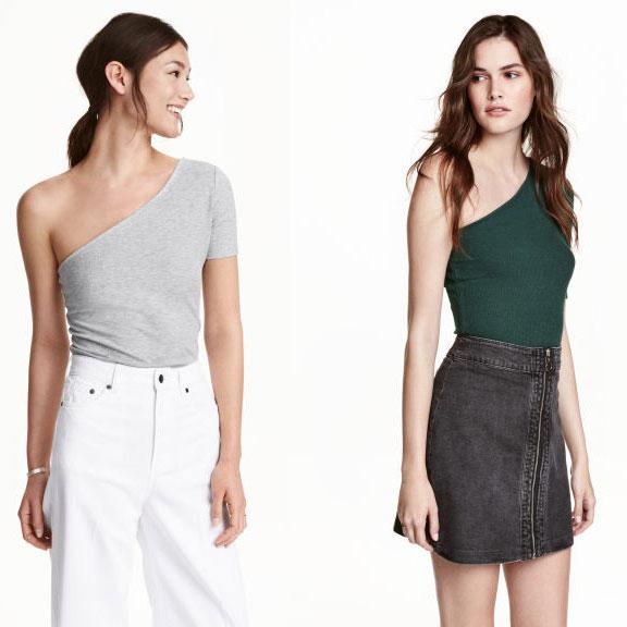 One-shouldertop nu €3,99 (was €12,99) + gratis verzending @ H&M