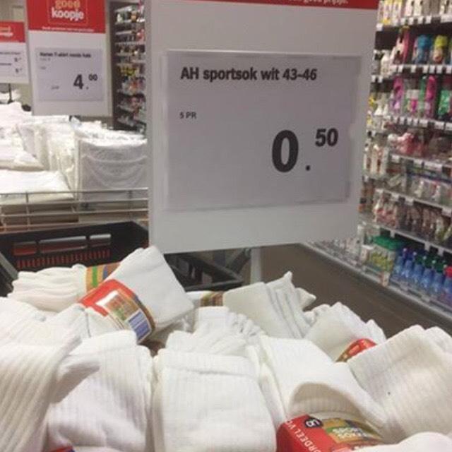 5 paar heren sportsokken voor €0,50 @ AH XL Heemskerk