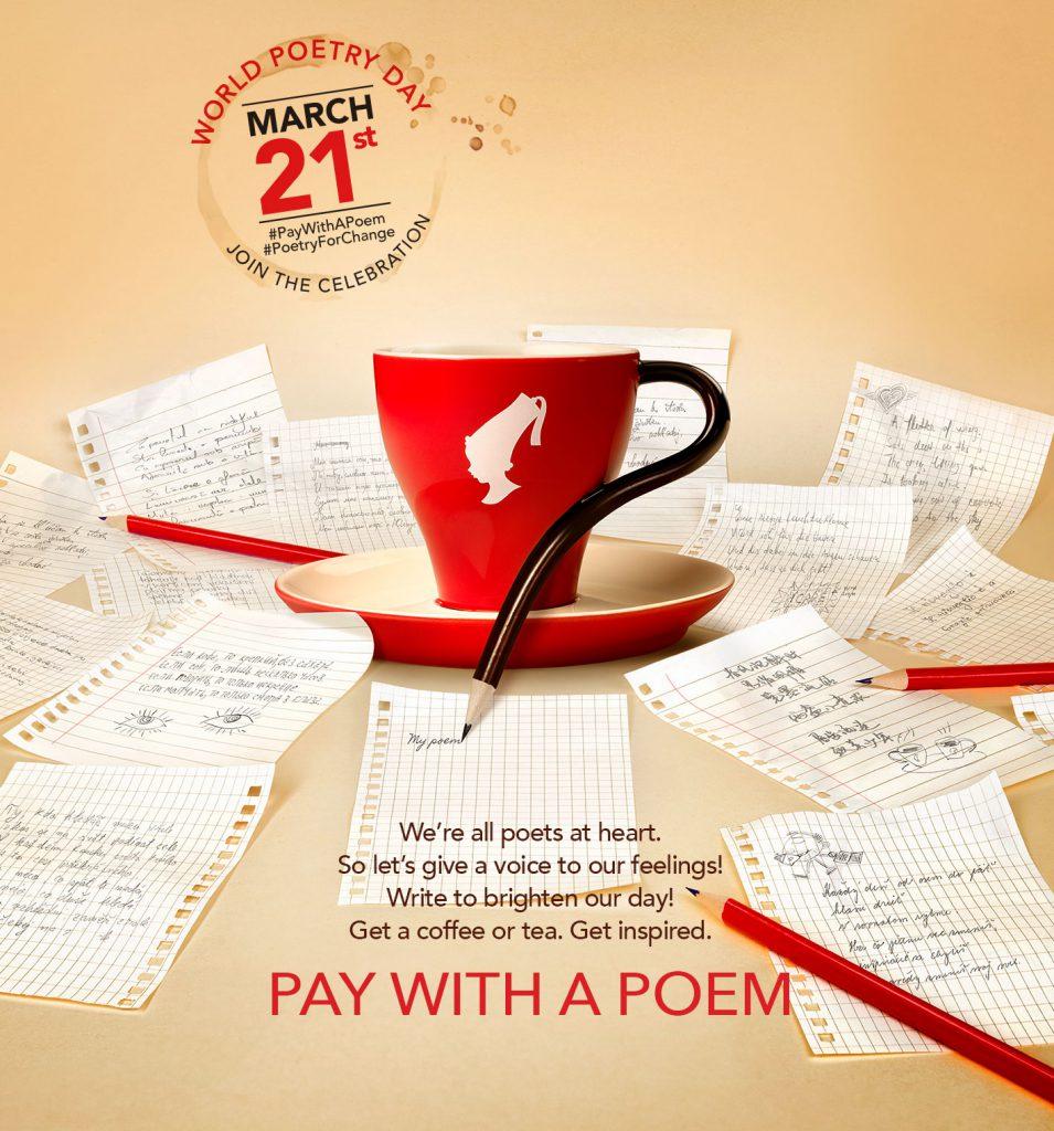 #PayWithAPoem Op 21-3 gratis kop koffie of thee voor een gedicht! Bij 1100 locaties in 27 landen.