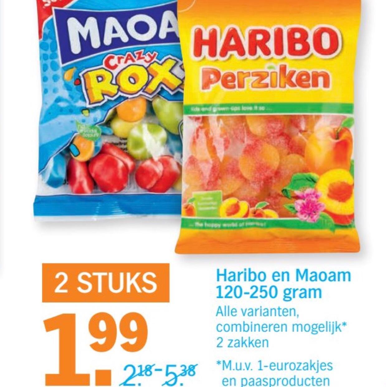 [Prijsfout?] Haribo en Moam alle zakken 2 voor €1,99 @ AH