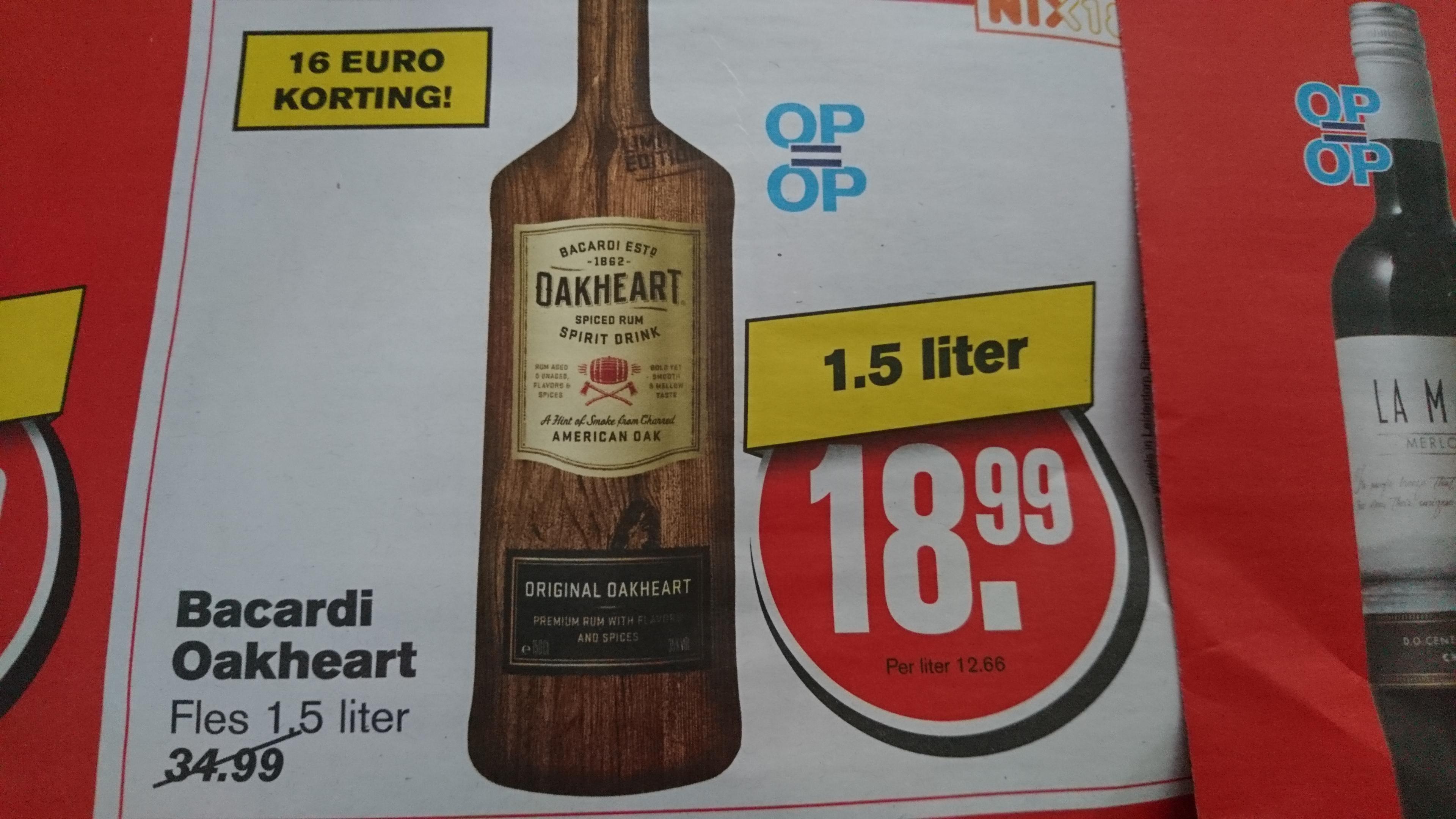 Bacardi Oakheart 1.5 liter @ Hoogvliet