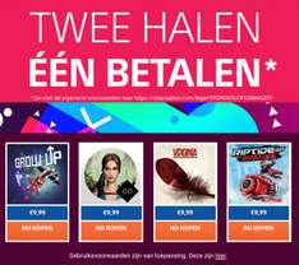 2 halen 1 betalen op diverse PS4 games @ PSN