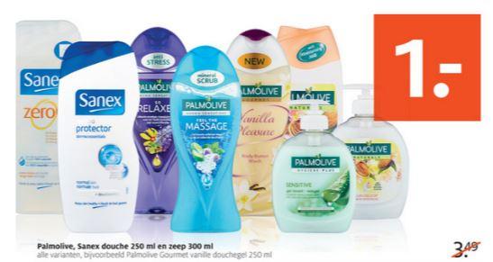 Sanex & Palmolive douche 250 ml + zeep 300 ml €1 @ ETOS