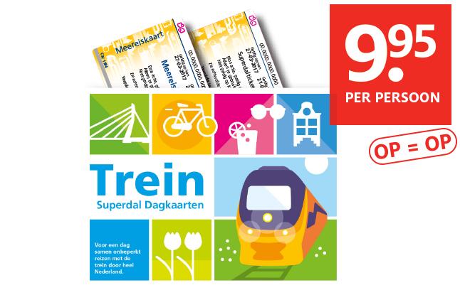 NS Dagkaart (na 11:00) voor 2 personen voor €19,90 bij Etos (vanaf maandag)