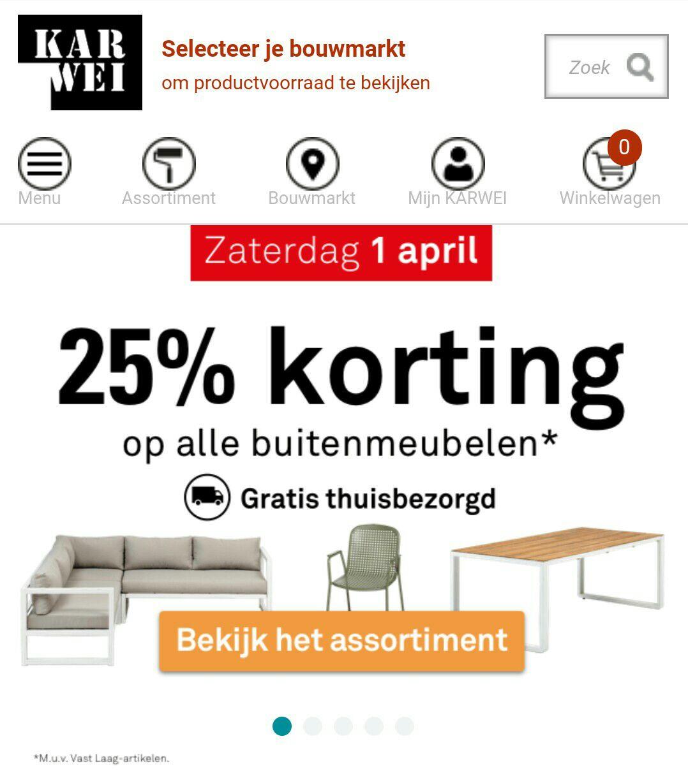 Zaterdag 1 april 25% korting op alle (tuin) meubelen bij Karwei