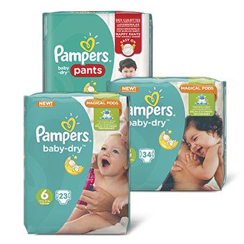 4 pakken Pampers Baby Dry en Active Fit voor €20 @ Dirk