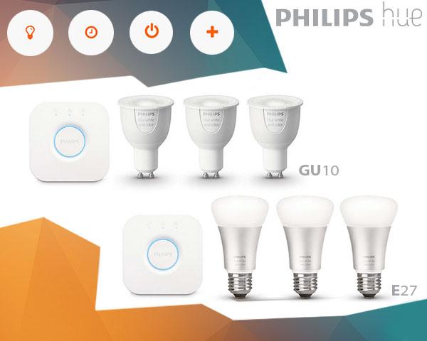 Philips Hue E27, Starter pack met 3 lampen, met Bridge 2.0