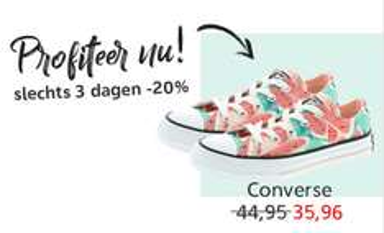 Converse 20% korting + €10 extra (va €50) @ Kleertjes.com