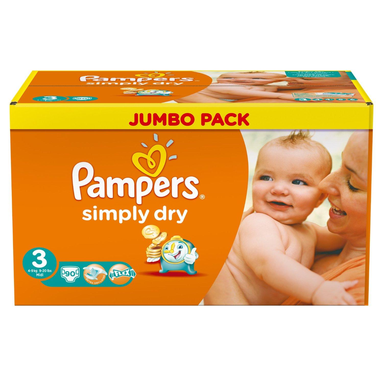 180 Pampers Simply Dry luiers voor €27,82 @ Amazon.de